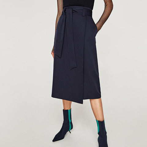 Bow Tie Solid Hem Skirt