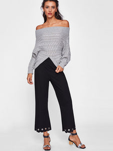Burn-Out Hole Black Women Pants