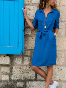 Casual Tie Wrap Dress_Sky Blue