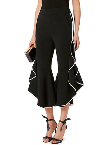Color Contrast Stitches Ruffles Pants