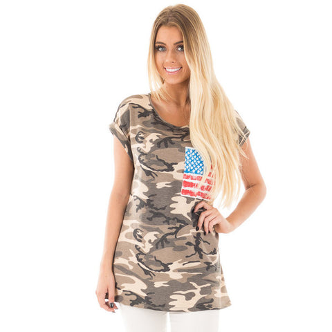 Crew Neck Camo Flag Tshirt with Yellow