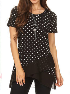Crew Neck Polka Dots Patchwork Shirt