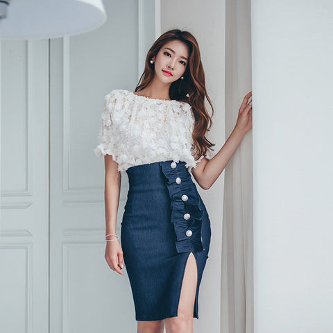 Denim Wrap with Split Skirt