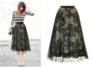 Embroidery Floral Gauze Hollow Out Skirt