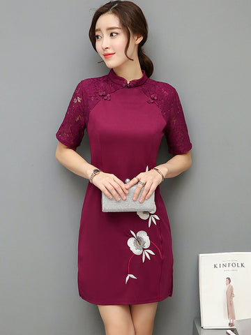 Embroidery Lace Patchwork Dress