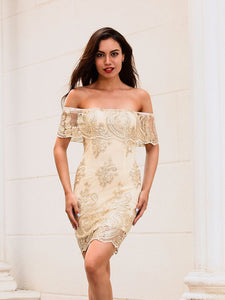 Embroidery Off Shoulder Dress