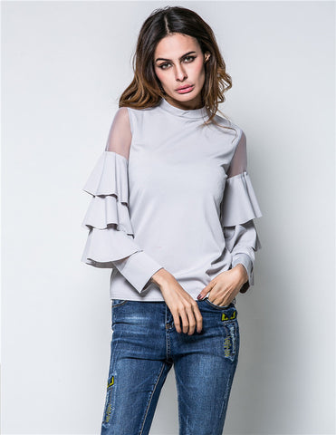 Flare Sleeve Patchwork Top