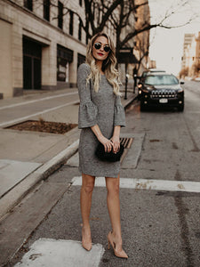Grey Bell Sleeve BodyCon Dress