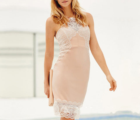 Halter Lace Panel Cocktail Dress