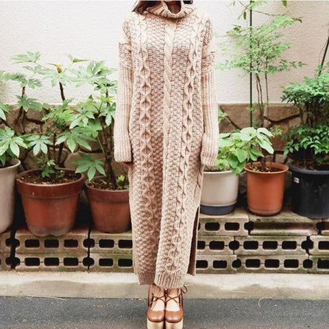 High Neck Solid Split Sweater Dress