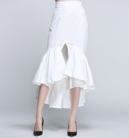 High Waist Fishtail Ruffles Skirt