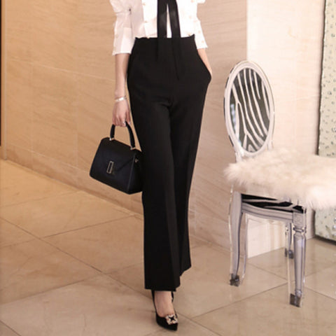 High Waist Solid Flare Pants