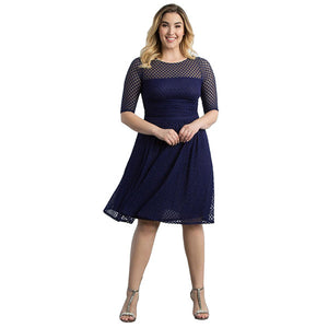 Plus Size Hollow Out Blue Half Sleeve Dress
