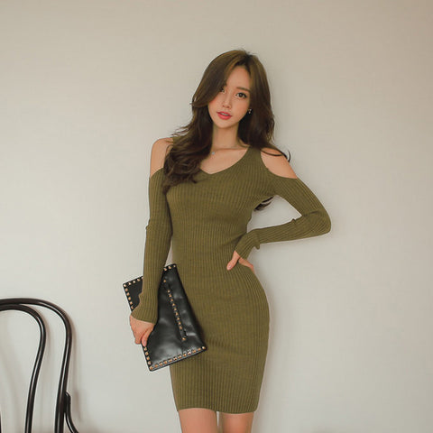 Knit Cold Shoulder Long Sleeve Fitted Dress