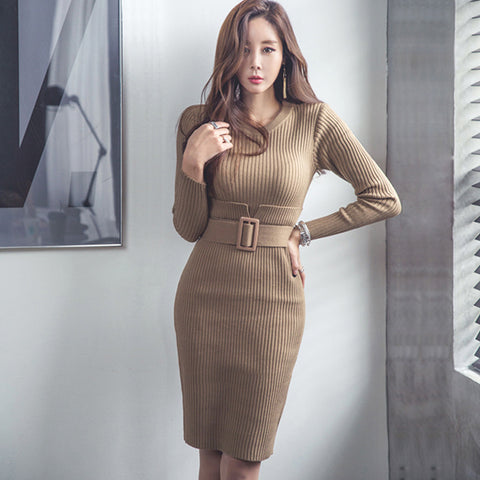 Knit Long Sleeve Belt Dress