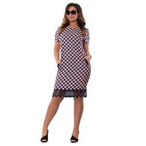 Plaid with Lace Short Sleeve Plus Size Dress