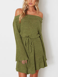 Long Sleeve Off Shoulder Sweater Dress