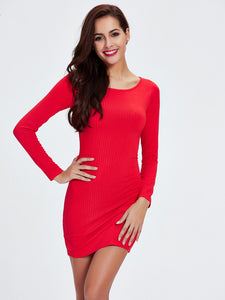 Red Long Sleeve Solid Color Knit Dress