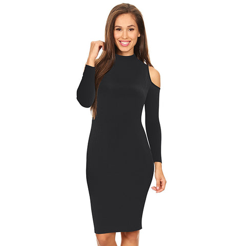 Off Shoulder Fitted Backless Knit Bodycon Dress