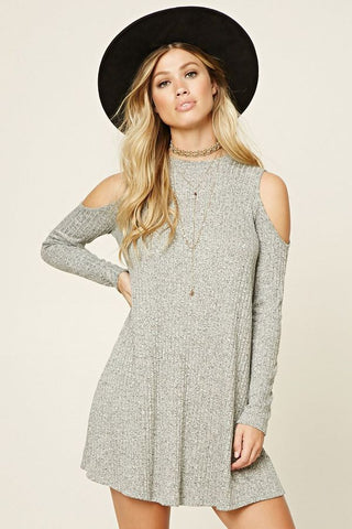 Off Shoulder Long Sleeve Knitted Dress