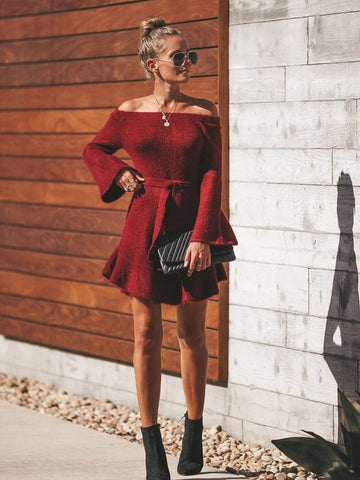 Wine Red Off the Shoulder Flare Sleeve Dress