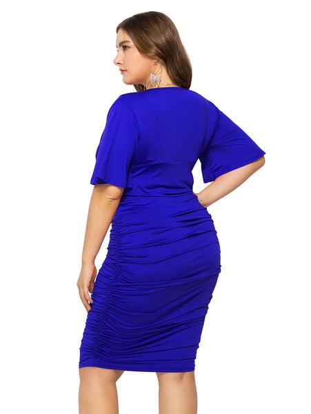 Plus Size Flare Sleeve V Neck Dress_Blue1
