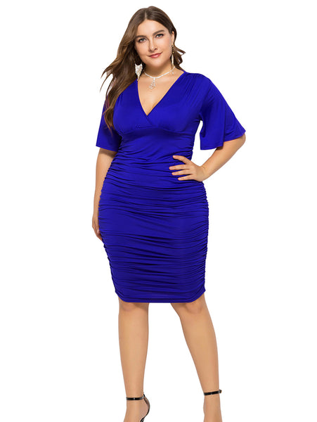 Plus Size Flare Sleeve V Neck Dress_Blue
