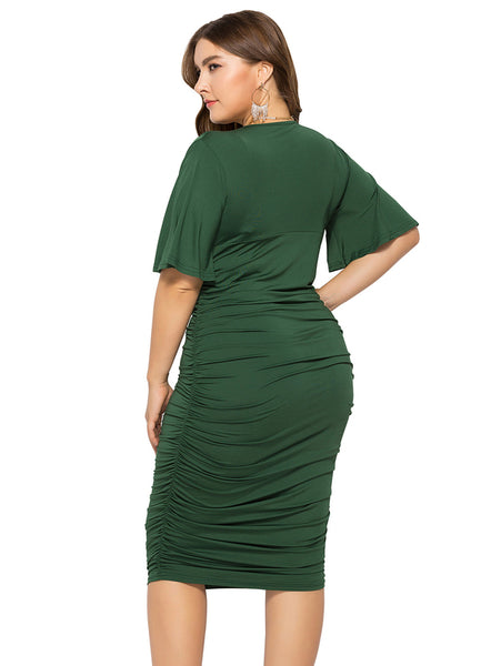 Plus Size Flare Sleeve V Neck Dress_Green1