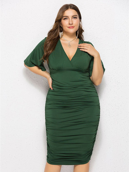 Plus Size Flare Sleeve V Neck Dress_Green