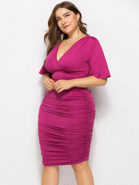Plus Size Flare Sleeve V Neck Dress