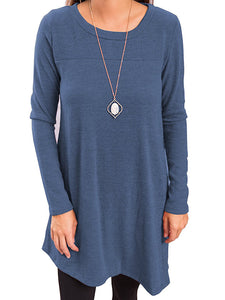 Pullover Long Sleeve Casual Dress Saphire