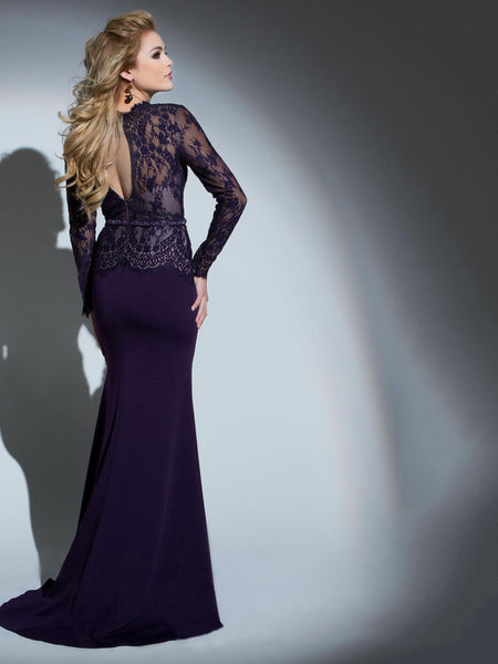 Purple Patchwork Long Sleeve Lace Fitted Evening Dress1