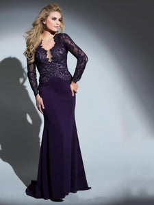 Purple Patchwork Long Sleeve Lace Fitted Evening Dress