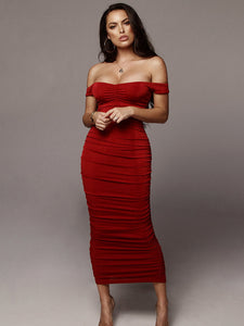 Red Pleated Off Shoulder Evening Dress