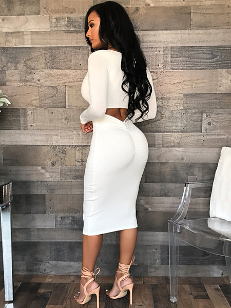 Sexy Solid Color Midi Dress1