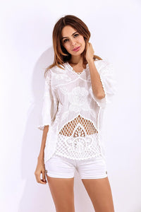Short Sleeve Crochet White Top