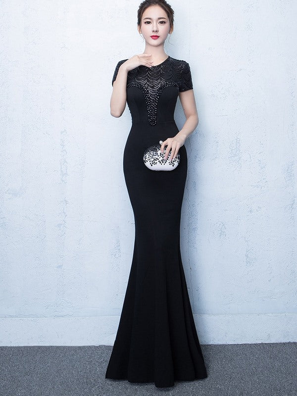 Short Sleeve Fishtail Studded Evening Gown – Fine Designs 4 Less