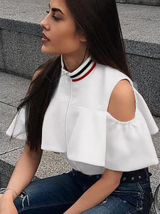 Short Sleeve Solid Ruffles Crop Top
