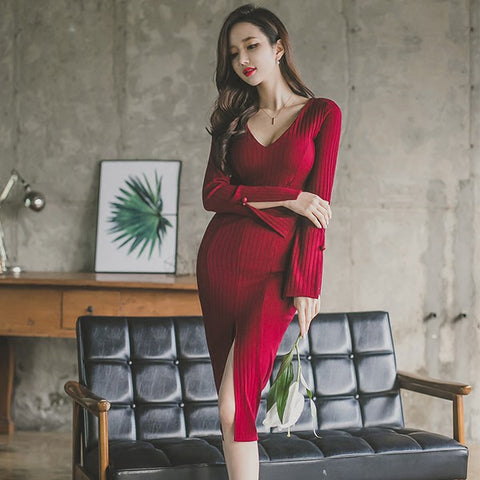 Slit Sweater Dress with V Neck