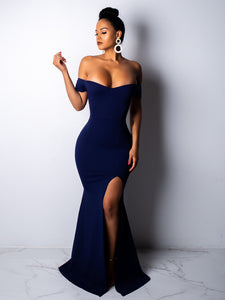 Solid Color Off Shoulder Maxi Dress_Navy Blue