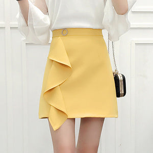 Solid High Waist Ruffles Skirt