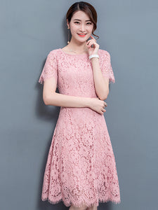 Solid Short Sleeve Lace Dress