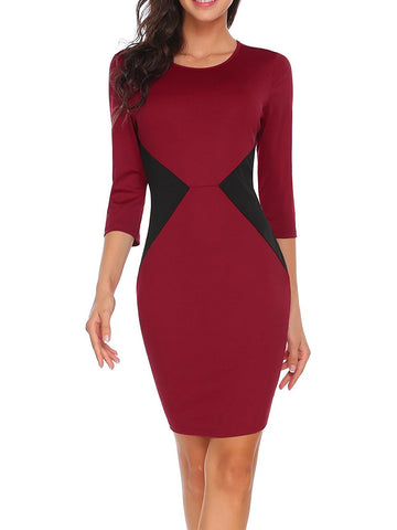 3/4 Sleeve Color Contrast Dress
