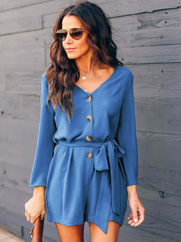 Tie Wrap Long Sleeve Romper