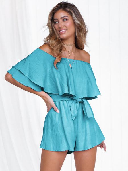 Blue Tie Wrap Off Shoulder Romper1