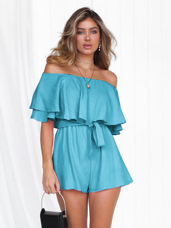 Blue Tie Wrap Off Shoulder Romper