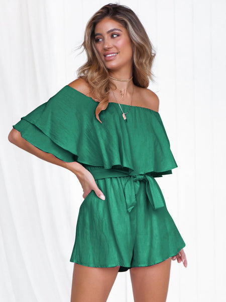 GreenTie Wrap Off Shoulder Romper1