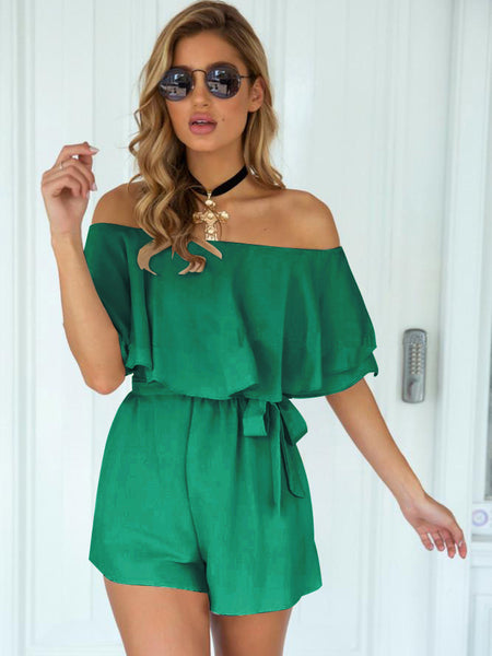 GreenTie Wrap Off Shoulder Romper