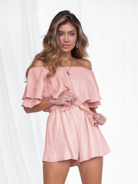 PinkTie Wrap Off Shoulder Romper1