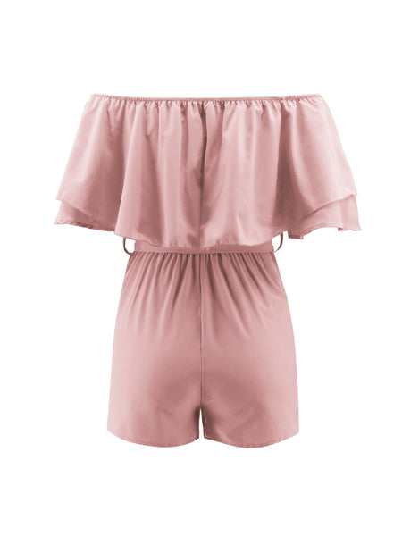 PinkTie Wrap Off Shoulder Romper2